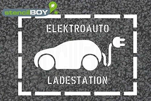 Preisvergleich Produktbild Elektroauto - Ladestation Bodenmarkierungs-Schablone mit Rahmen