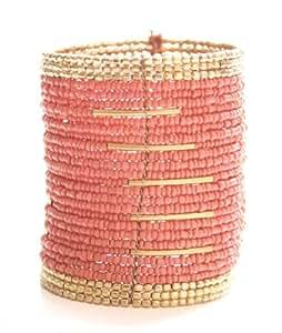 Marc Labat - 13E198 - Ethnic Chic - Bracelet Manchette Femme - Métal doré - Perle - 6 cm