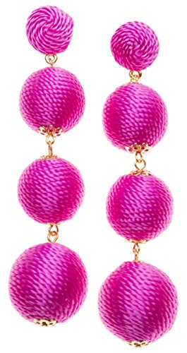 Happiness Boutique Damen Bommel Ohrringe in Pink | Pom Pom Ohrringe Ohrgehänge mit Bommeln nickelfrei