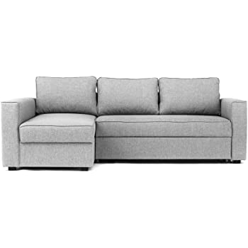 Abakus Direct Boston Corner Sofa Bed Storage In Grey Left Hand