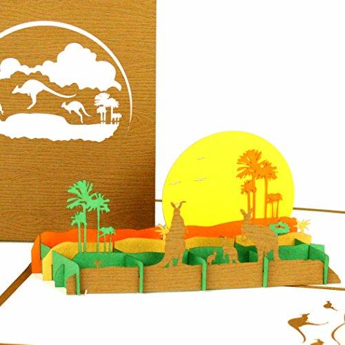 """Pop Up Karte""""Känguru & Outback Australia"""" - Pop Up Karte Australien - 3D Geburtstagskarte mit Kängurus als Deko, Reisegutschein, Souvenir, Einladungskarte und Geschenkverpackung Zoo"""