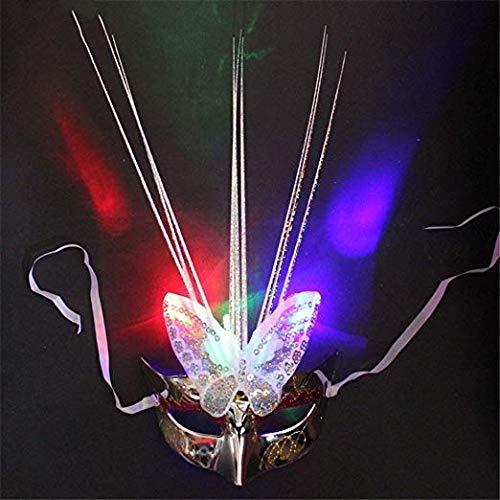 Schleier Wache Bildschirm Domino falsche Front Halloween Maske Make-up Tanz Glühen Maske halbes Gesicht leuchtende Maske Silber,1 ()