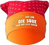 Baby KOPFTUCH Mütze (Farbe rot-orange) (Gr. 2 (68-98) Ich bin die Suesse von der alle reden