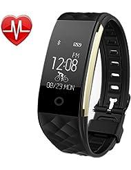 Fitness Tracker mit Pulsmesser ,Pluvansay Fitness Armbänder mit Schrittzähler,Schlafmonitor Touchscreen und Kalorienzähler /Vibrationsalarm Anruf SMS Whatsapp Für Android/ iOS Telefonkompatibel