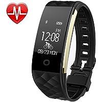 Pruvansay Fitness Armbänder mit Schrittzähler,Schlafmonitor Touchscreen und Kalorienzähler/Vibrationsalarm Anruf SMS Whatsapp Für Android/iOS Telefonkompatibel,Schwarz