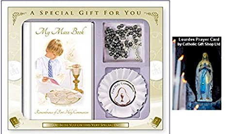 Boys First Holy Communion Missal Gift Set with Rosette (C5215) + FREE Lourdes PRAYER CARD