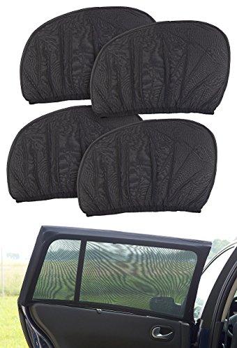 Lescars Blendschutz: 4er-Set Universal-Überzieh-Sonnenschutze für Auto-Seitenscheiben (Auto Sichtschutz)
