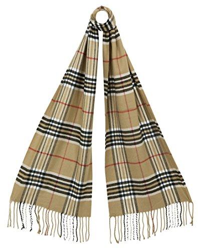RW Fashion, Uomo / sciarpa delle donne, classico Cashmere & viscosa, - checkered- SK021 (Beige (Camel))