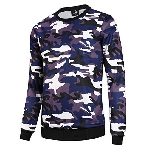 UJUNAOR Langärmeliger Pullover mit Camouflage-Print für Herren Frühling Strassenmode(Blau,CN M)