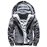 Riou Herren Strickjacke Cardigan Beiläufige DünneStrickpullover mit Kapuze Kapuzenpullover Pullover Männer Hoodie Winter warme Fleece Zipper Sweater Jacke Outwear Mantel (M, Grau C)