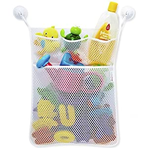 Bath Toy Organizer, AnGeer Mesh Net Toy Storage Bag For Baby Boys Girls With Two Suction Cups, Multiple Pockets