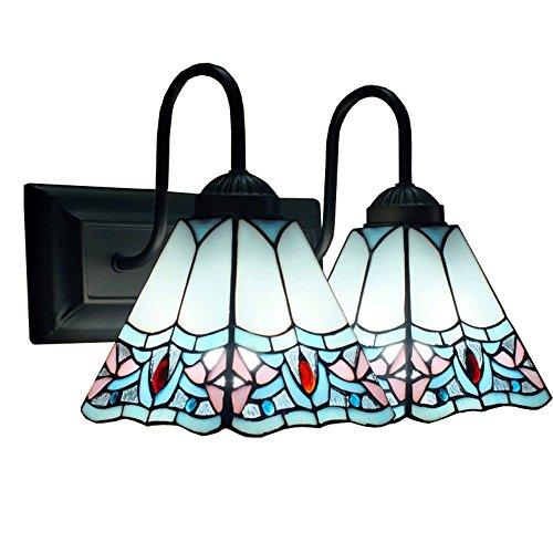 OOFAY Lichter Retro Tiffany-Stil Maditerranean Luxus Doppel Lichter E27 Glasmalerei Wandleuchte Innendekoration Blau Weiß Painted Flower Wandleuchten Für Schlafzimmer Bedside Cafe Esszimmer Cafe