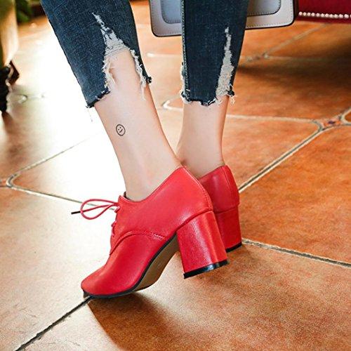 ... Talon Avec Lacets À Femmes Cheville Talons Pente Pointus Bottes Hauts  Biker Chaussures Escarpins Haut Rawdah 507376772a05