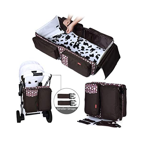 Baby Changing Bags 3-in-1 Universal Foldable Baby Travel Bed Portable Bassinet Crib Diaper Bag 0-12 Months, Brown WYTbaby ✿ BABY CHANGING BAG: This folding nappy bag not only can be a bag for putting baby diapers and baby daily stuffs but also can be a travel cot. It's pretty convenient and portable. Foldable is its special features. Crib is for your child to lay down and get some proper sleep during nap time. To have a padded space to play while staying safe and germ-free. It's really recommended for travel. ✿ STROLLER STORAGE BAG: Our multi-purpose diaper bag will neatly stash away all of your babies important stuffs with zippers for food, bottles, wipes and more. ✿ PRACTICAL HANDBAG: This versatile carry bag with adjustable and detachable shoulder straps and stroller straps. You can buckle it up to pram and pushchair, on the back of a carseat or on a shopping trolley. 1