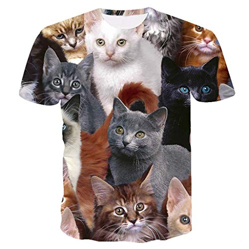 REALIKE Herren Damen Unisex 3D Druckten T-Shirts Sommer-beiläufige Kurze mit Karikatur Katze Hülsen- T-Stücke Funky Freizeit Tier Gedruckt Hemd Tops Oversize Basic Kurzarmshirt Bluse -