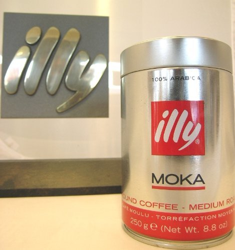 Illy MOKA Ground Coffee - Medium Roast, Dose mit silber / roter Banderole, 12 x 250 g Dose, für...