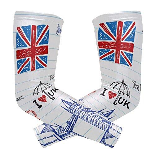 bennigiry Symbole London Arm Ärmel UV-Schutz für Männer Frauen Sonnencreme Schutz Handschuhe Running Golf Fahrrad fahren lang Arm, 1Paar London-eis