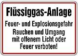 Schild Alu Flüssiggas-Anlage Feuer- u. Explosionsgefahr 250x350mm