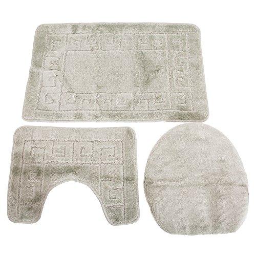 Universal-Textiles Grichisches Muster Design Badematten Set 3-teilig (60 x 100cm) (Beige) -