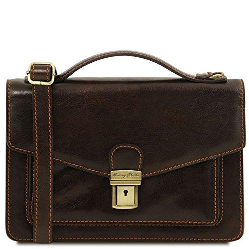 Tuscany Leather Eric Elegante Herrentasche aus Kalbsleder Honig Dunkelbraun