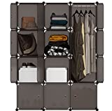LANGRIA 12-Cube Cabinet Storage Unit Organiser for Kids Stackable Plastic Cube Shelves Multifunctional Modular Cupboard Wardrobe with Animal Cartoons on Doors for Clothes Shoes Toys School Bags Brown