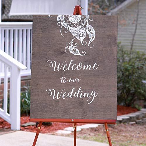 CELYCASY Boho-Hochzeits-Willkommensschild Ideen, Willkommen auf unserer Hochzeit, rustikale Hochzeit, Willkommensschild, personalisiertes Hochzeitsschild, Empfangsschild (Boho Ideen Hochzeit)