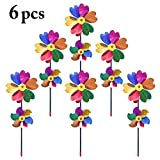 Outgeek 6PCS Pinwheel Windmill Kids Toys Double Flower Plastic Toy Party Pinwheel Wind Spinner for Outdoors