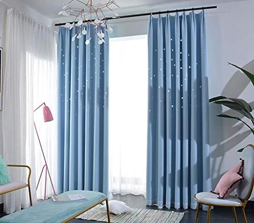Fertigen Produkt-modell (Marcus R Caveggf Vorhang Doppelt Schattierung Durchbrochen Star Prinzessin Wind Romantisch Schlafzimmer Wohnzimmer Fertiges Produkt Blau Verknüpfte Modelle Eine Scheibe, 1.5x2.7)