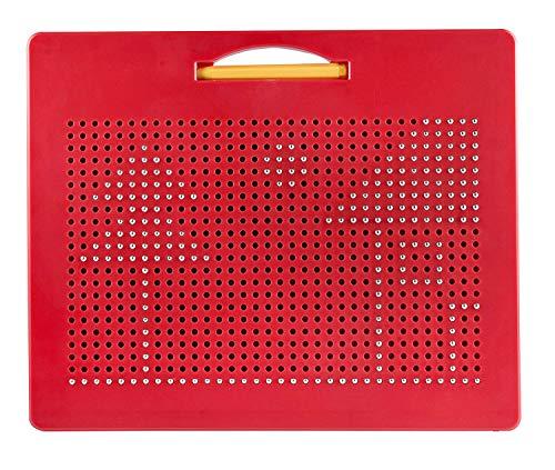 Playmags Magna Drawing Tablette de Voyage avec 748 Billes magnétiques intégrées, Stylet Assorti et poignée de Transport Facile éducation pour Les Tout-Petits à partir de 3 Ans,Red