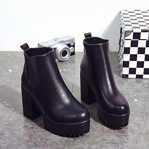 Calzado de Mujer, Plataformas de tacón Cuadrado Cuero Muslo Alta Botas de la Bomba Zapatos (38, Negro)
