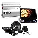 Auna mvd-240 • Autoradio Video Touchscreen 7 • Lautsprecher Verstärker Auto • 2 Kanäle • 2 x Subwoofer von 1200 Watt und 2 x Mitteltöner von 1200 Watt • Verstärker 2 Kanäle von 2200 Watt • Multimedia Autoradio mit DVD Player • Knopf Crossover