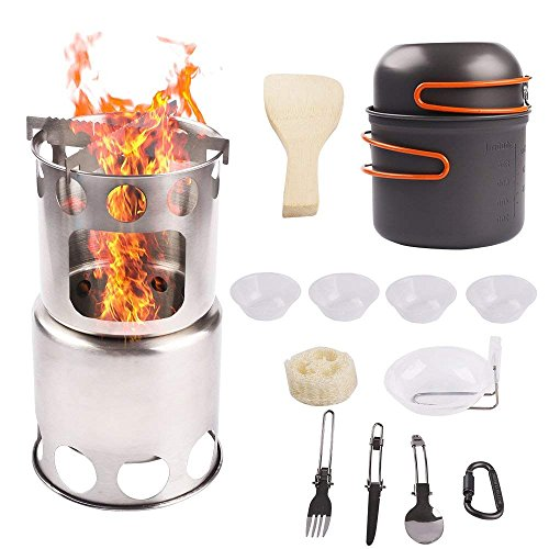 MA3TY Wood Burning Stove with Cookware Set Potable Stainless Steel Camping Wood Stove Backpacking Stove for Picnic,Hiking,Hunting,Camping.