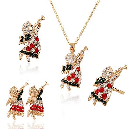 ZOYLINK 5 STÜCKE Weihnachtsschmuck Dekorative Mode Fingerring Brosche mit Halskette