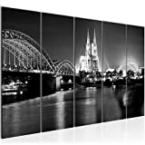 Bilder Köln Wandbild 200 x 80 cm Vlies - Leinwand Bild XXL Format Wandbilder Wohnzimmer Wohnung Deko Kunstdrucke Grau 5 Teilig - MADE IN GERMANY - Fertig zum Aufhängen 602655c