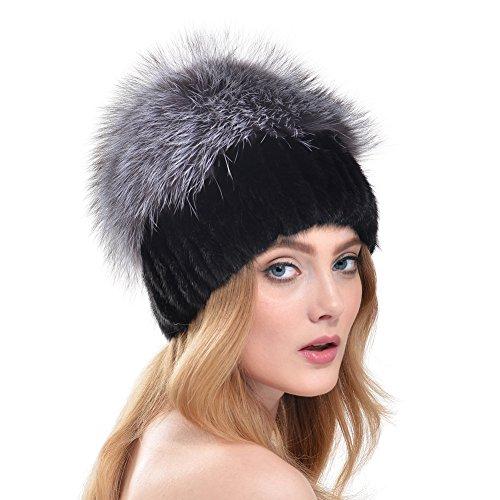 Vemolla berretto invernale per donne a maglia in vera pelliccia di visone con pelliccia di volpe nero