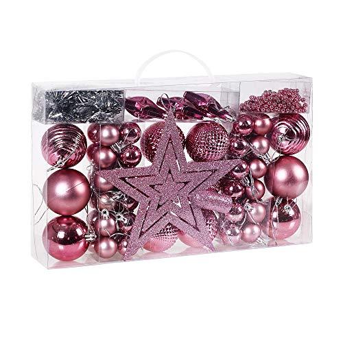 Deuba palle di natale 66 pezzi palline natalizie decorazioni natale palle albero di natale decorazione natalizia rosa