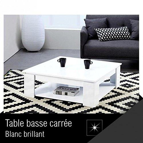 MANHATTAN Table basse carrée style contemporain blanc brillant - L 89 x l 89 cm