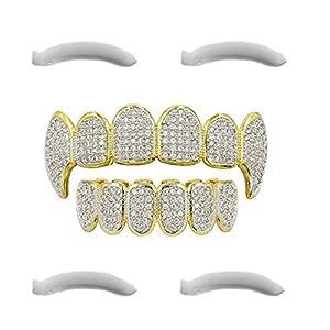 Top Class Jewels 24K vergoldeter Grillz mit Micropave CZ Diamanten + 2 Extra Formteile (Jeder Stil, Weißgold, Silber, Gold, Diamanten) (Mikropave mit Reißzähnen)
