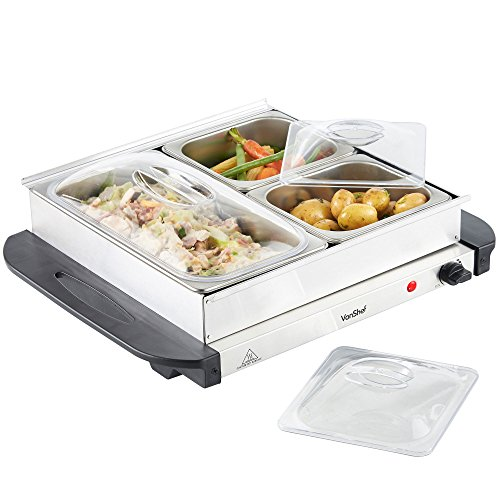 VonShef 3 Tray Food Warmer Buffet Server – 3 Large Pans Keep Food & Plates Hot For Longer – More Compact Than A Hostess Trolley – 200W Electric Adjustable Temperature Control