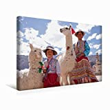 Premium Textil-Leinwand 45 cm x 30 cm quer Frau und Mädchen mit Lama und Alpaka | Wandbild, Bild auf Keilrahmen, Fertigbild auf echter Leinwand. Maca, Colca Canyon, Peru (CALVENDO Orte)