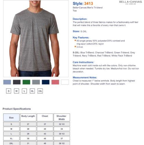 Bella+Canvas: Men`s Triblend V-Neck T-Shirt 3415 Anthrazit