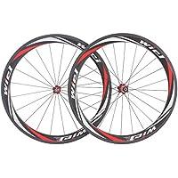 Wiel® ruote Road Bike 700c 50mm carbonio set ruote bici bicicletta tubolari ruote 3k rosso - Tubolari Bike Wheels