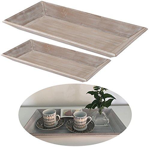 LS-LebenStil Holz Deko-Tablett Grau 60x21cm Serviertablett Teelichthalter Kerzen-Teller Schale