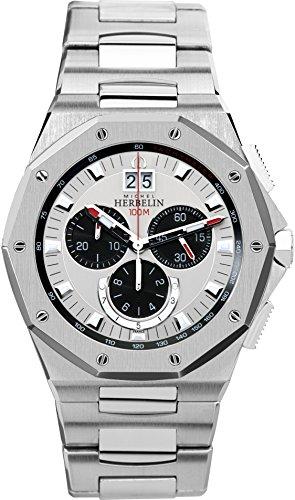 Michel Herbelin Odyssee Chrono Herren Quarz-Armbanduhr mit Silber Zifferblatt Chronograph-Anzeige und Silber Edelstahl Armband 36631/B23