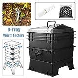 Nologo Gxbld-yy 80L PP Cucina rifiuti Earthworm Compost di Sicurezza Fai da Te Composter Worm Composter Fabbrica Concimi Earthworm e secchi del Suolo