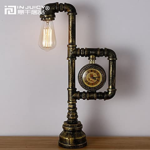 Injuicy Loft Vintage Industrial Wrought Iron Metal Table Lamps E27 Edison Water Pipe Table Lights Bedside Rustic Steampunk Desk Accent Lamps Nightstand for Living Room Bedroom Cafe Bar with Clock Home