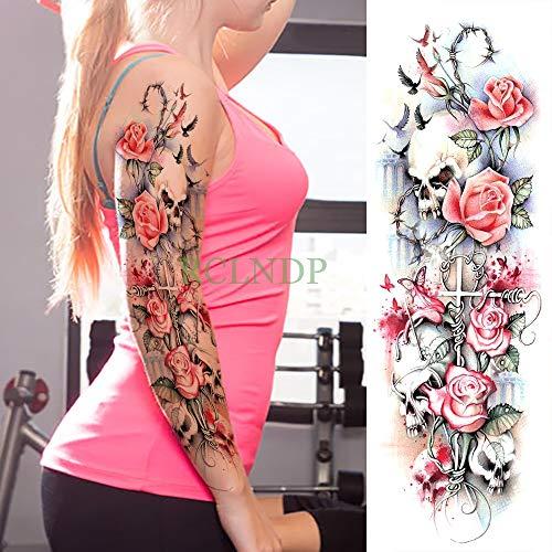 tzxdbh 3 Stücke-Wasserdicht Temporäre Tätowierung Aufkleber Uhr Rose Blume vollarm Tatto Tatoo hülse große größe für mädchen Frauen Dame 3 Stücke- Alte Rose Fine China