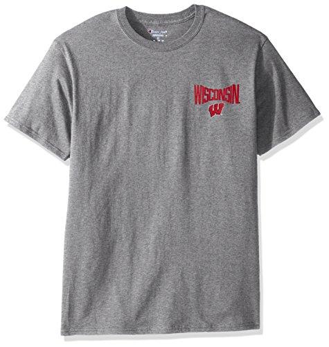 Diamant-herren-shirt (Champion NCAA Herren T-Shirt, kurzärmelig, zweifarbige Grafik-Diamant-Rücken, Tagless Collegiate Baumwolle, Grau, Herren, NCAA Men's Champ Short Sleeve T-Shirt 6, Diamant, Medium)