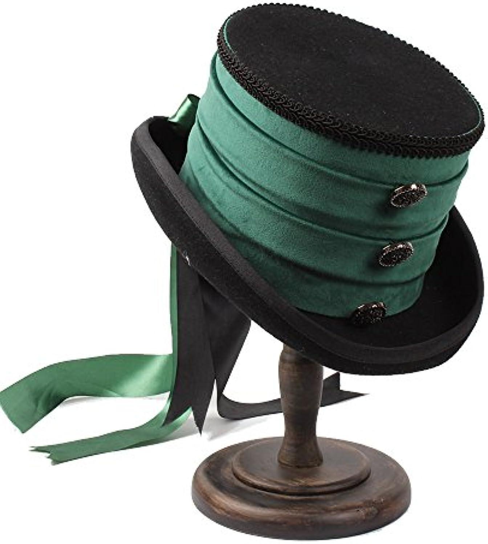 FuweiEncore Cappello a Cilindro (Coloreee Vittoriano Steampunk Raven verde  (Coloreee Cilindro 1 9e09accaa1bf