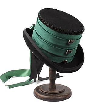 Cappello con berretto verde a mano in lana vittoriana Steampunk Raven Green Cappello a cilindro piatto Haoweiwei...